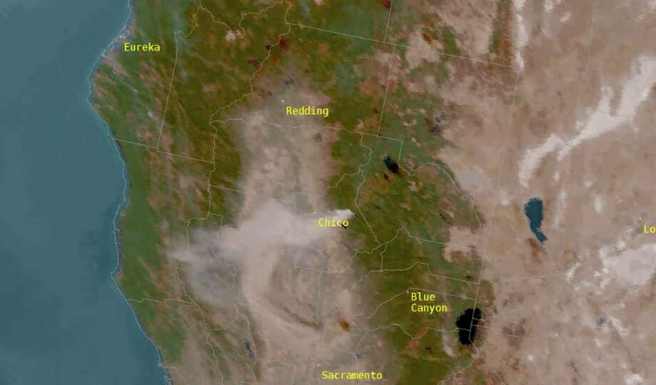 Satellite imagery shows the Camp Fire near Chico is visible from space. Photo: NASA