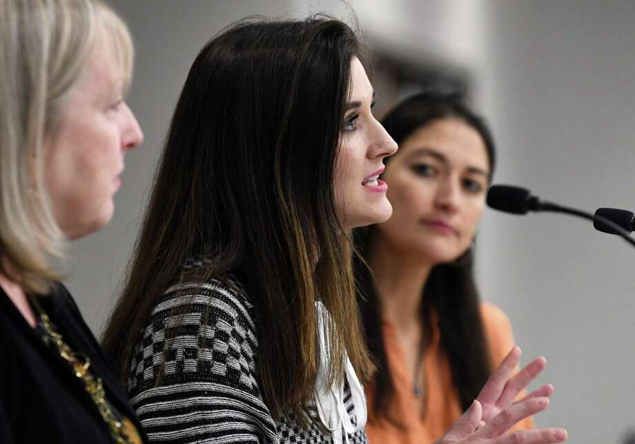 Cortney Lovell, co-founder, Our Wellness Collective, participates in a panel discussion on the local approach to the overdose crisis, during a day-long conference on policies, programs and practices aimed at reducing the harms associated with drug use on Thursday, Nov. 8, 2018, at the Hearst Media Center in Colonie, N.Y. More than 100 Capital Region health providers, harm reduction, addiction medicine and policy organizations met to explore a harm-reduction approach to addiction treatment. (Will Waldron/Times Union) Photo: Will Waldron, Albany Times Union / 20045432A