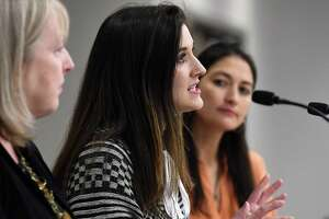 Cortney Lovell, co-founder, Our Wellness Collective, participates in a panel discussion on the local approach to the overdose crisis, during a day-long conference on policies, programs and practices aimed at reducing the harms associated with drug use on Thursday, Nov. 8, 2018, at the Hearst Media Center in Colonie, N.Y. More than 100 Capital Region health providers, harm reduction, addiction medicine and policy organizations met to explore a harm-reduction approach to addiction treatment. (Will Waldron/Times Union)