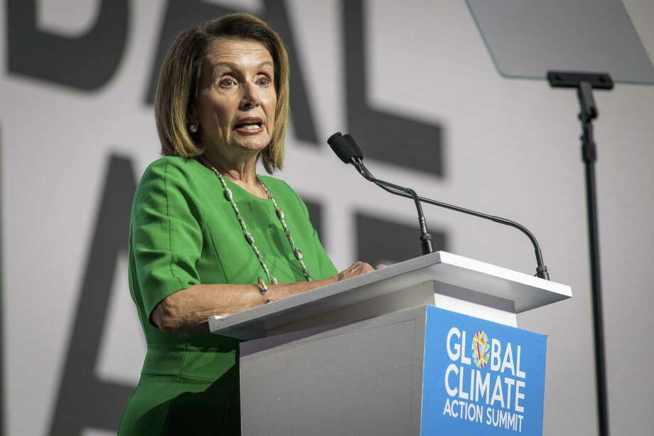 House Minority Leader Nancy Pelosi, D-Calif., speaks during the Global Climate Action Summit in San Francisco on Sept. 13, 2018. Photo: Bloomberg Photo By David Paul Morris / Bloomberg