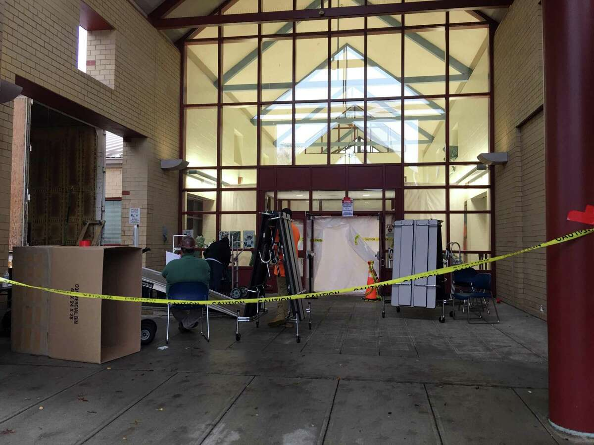 Westover Magnet Elementary School in Stamford, Conn. being remediated for mold on Nov. 6, 2018