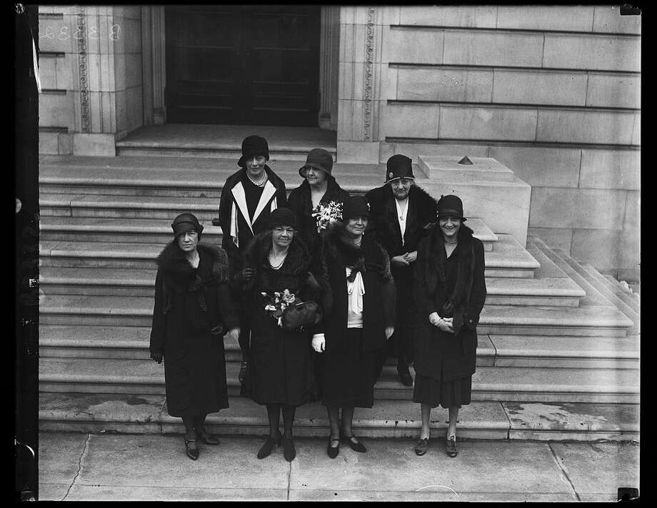 Front row, from left: Reps. Pearl P. Oldfield of Arkansas, Mary T. Norton of New Jersey, Ruth Baker Pratt of New York and an unidentified woman. Back row, from left, Ruth Bryan Owen of Florida, Edith Nourse Rogers of Massachusetts and Florence Kahn of California. Photo: Library Of Congress. / Library of Congress