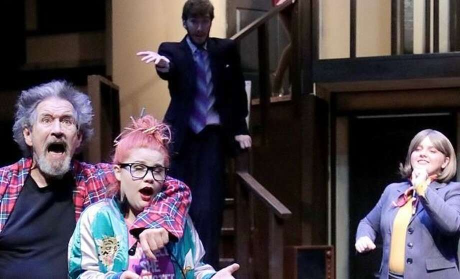 League City resident Roger Stallings, left, shown with Valerie Robinson, David Wheelis and Maggie Bledsoe, performs in College of the Mainland's 'Noises Off.""