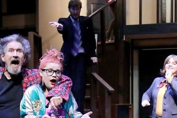 """League City resident Roger Stallings, left, shown with Valerie Robinson, David Wheelis and Maggie Bledsoe, performs in College of the Mainland's 'Noises Off."""""""
