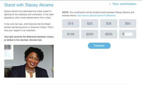 Some criticized a fundraiser Kamala Harris shared on behalf of Stacey Abrams because half the money goes to Harris unless donors adjust the ratio. Photo: Screenshot Via ActBlue