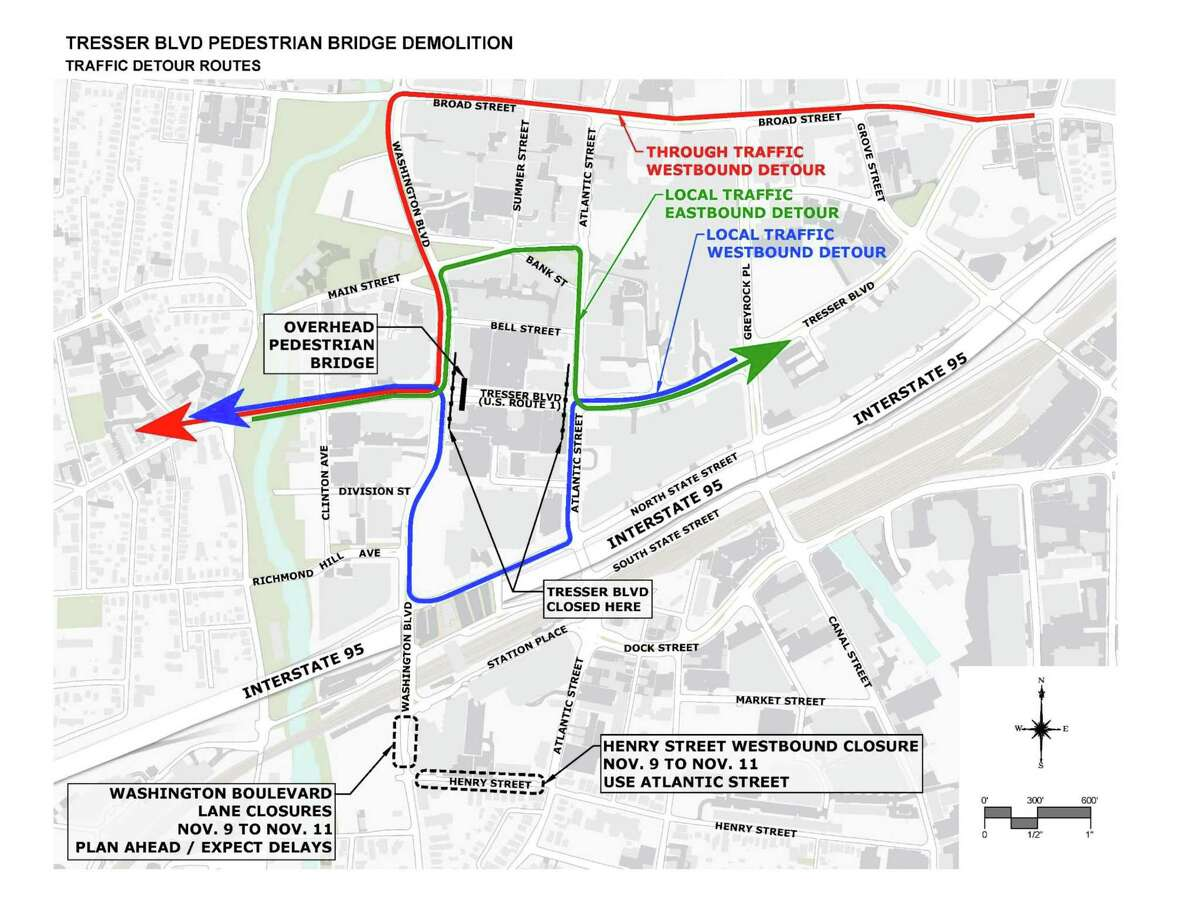Detour map for Tresser Boulevard closures starting midnight Friday, Nov. 9, 2018, to the early Monday morning.