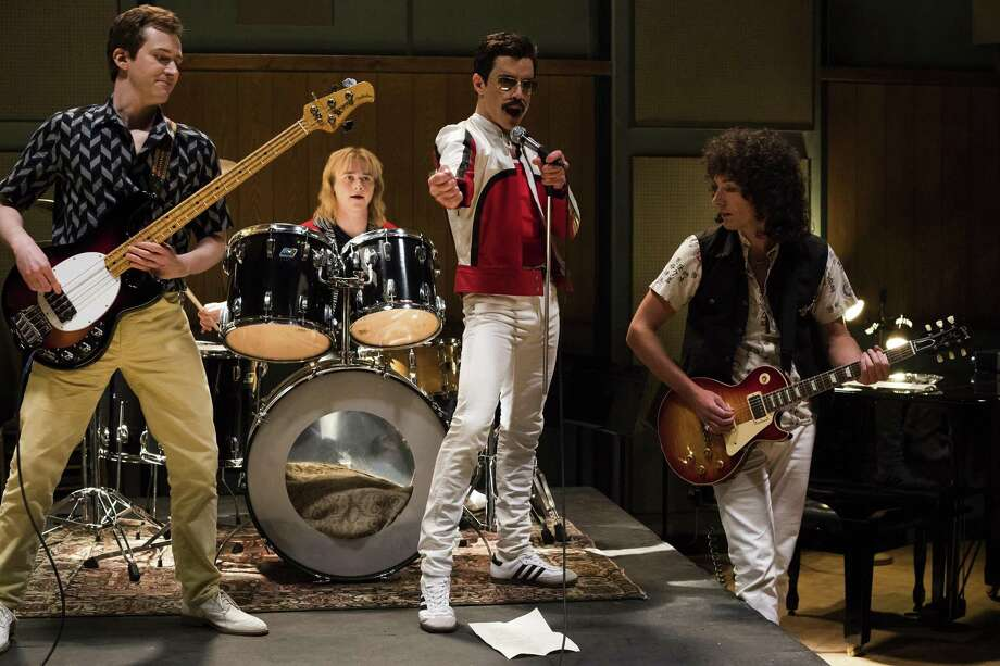"""This image released by Twentieth Century Fox shows Joe Mazzello, from left, Ben Hardy, Rami Malek and Gwilym Lee in a scene from """"Bohemian Rhapsody."""" (Alex Bailey/Twentieth Century Fox via AP) Photo: Alex Bailey / Associated Press / TM & © 2018 Twentieth Century Fox Film Corporation. All Rights Reserved. Not for sale or duplication."""