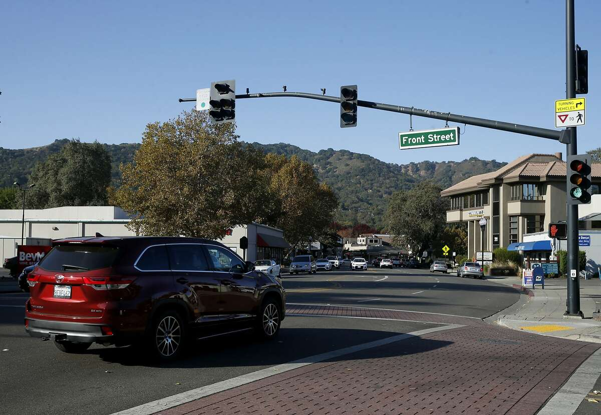 Traffic rolls through the intersection of Front Street and Diablo Road in Danville, Calif. on Thursday, Nov. 8, 2018, near the location where a 33-year-old man was shot and killed by police following a pursuit over the weekend.