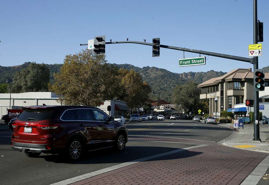 Traffic rolls through the intersection of Front Street and Diablo Road in Danville, near the location where police shot Laudemer Arboleda, saying he was threateningthem with his car. Photo: Paul Chinn / The Chronicle