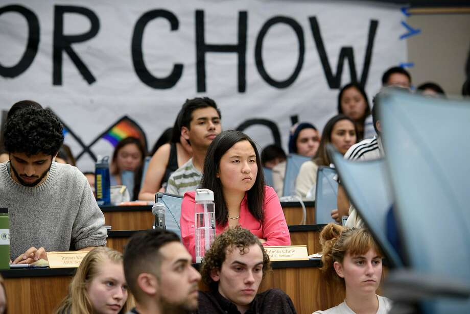 Student senator Isabella Chow listens to speakers during an Associated Students of the University of California meeting held at UC Berkeley on November 7, 2018. Chow is facing backlash for abstaining from a resolution condemning the Trump administration's anti-LGBTQ actions in new Title IX regulations. Photo: Michael Short / Special To The Chronicle