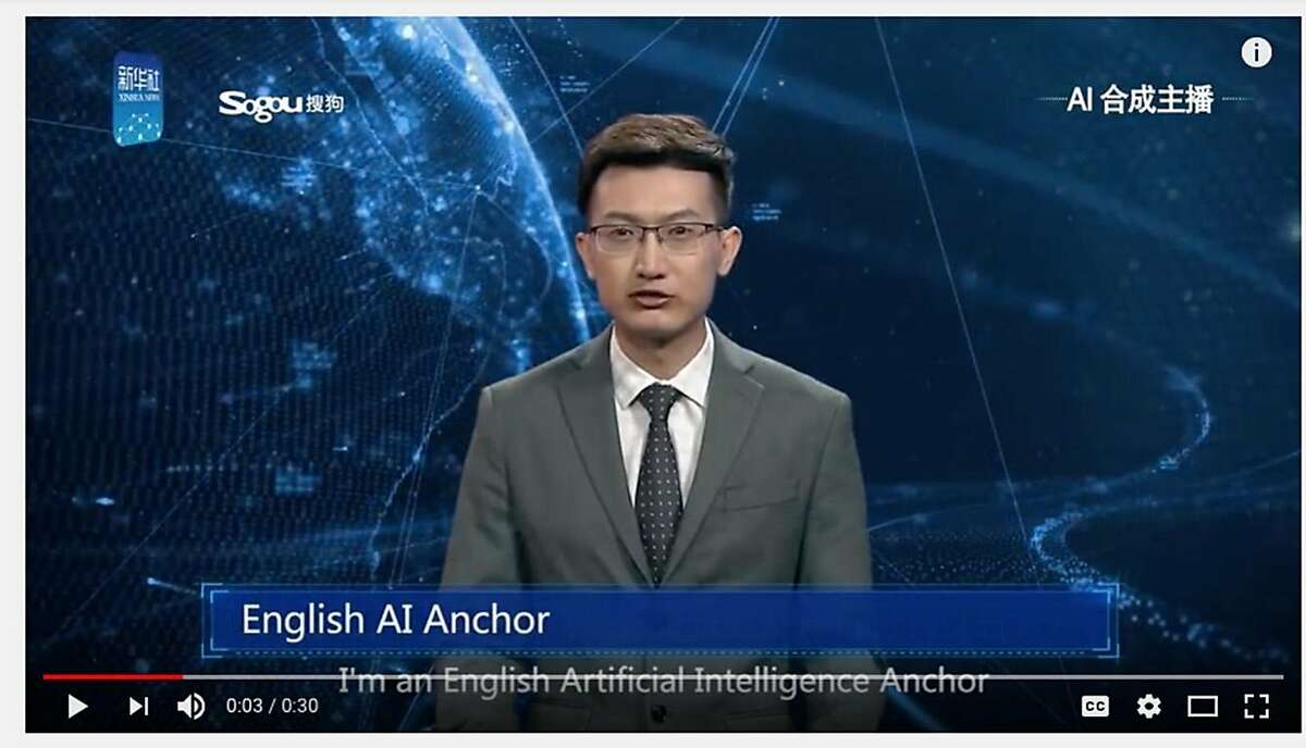 An English-language news anchor - a composite of a live person and artificial intelligence - makes his broadcast debut on the Xinhua News Agency broadcast on Thursday, Nov. 8, 2018.