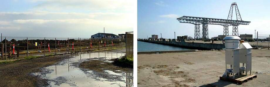 Left: Flooding of areas surrounding RSY2, the radiological screening yard next to the police building. Right: An air monitoring station near the south pier of the Hunters Point Shipyard, October 7, 2010. Photo: LF: Bert Bowers RT: Courtesy U.S. Navy / Bert Bowers And U.S. Navy
