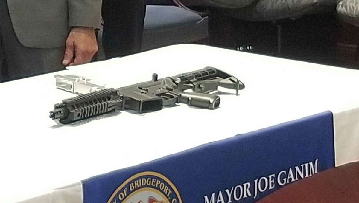 A ghost gun with a 3D-printed part that was taken of Bridgeport, Conn., streets. The gun was showed to the public during a press conference on Oct. 10, 2018.