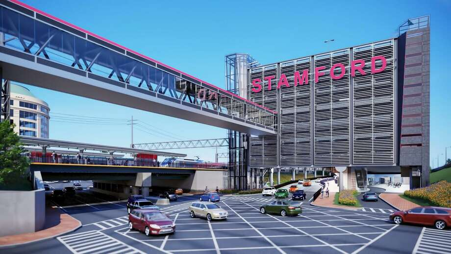 Renderings from the state Department of Transportation's Rocky Hill design firm, CHA Consulting, show the 960-space, eight-story Stamford train station parking garage that will be built on South State Street near the intersection with Washington Boulevard. The DOT expects to finish the project in 2021. Photo: Connecticut Dept Of Transportation / Contributed Rendering / Stamford Advocate  contributed