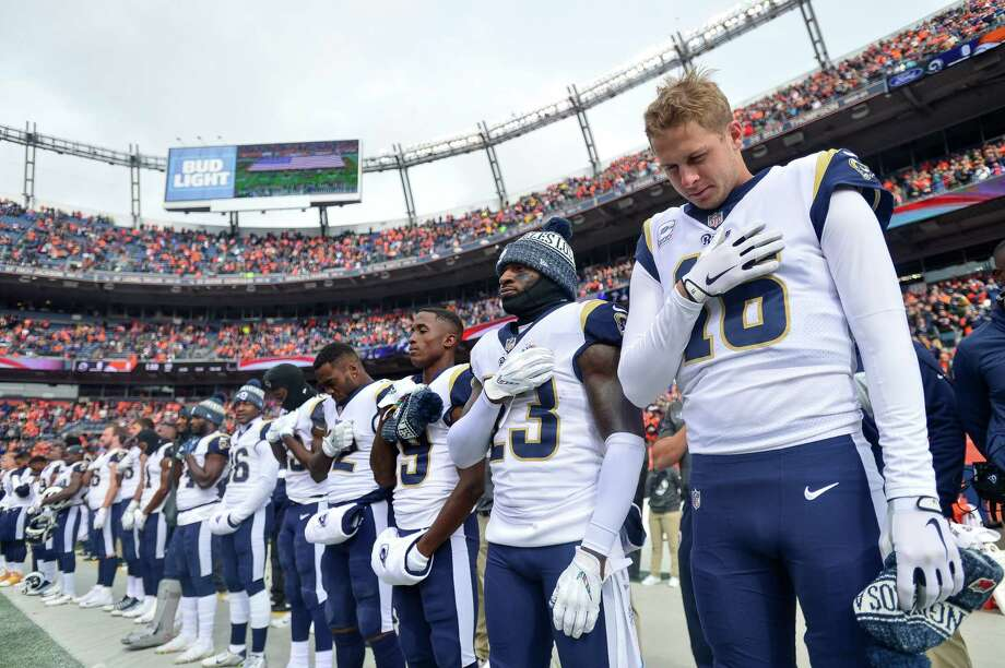 DENVER, CO - OCTOBER 14:  Quarterback Jared Goff #16 of the Los Angeles Rams stands during the performance of the national anthem before a game against the Denver Broncos at Broncos Stadium at Mile High on October 14, 2018 in Denver, Colorado. Photo: Dustin Bradford, Getty Images / 2018 Getty Images
