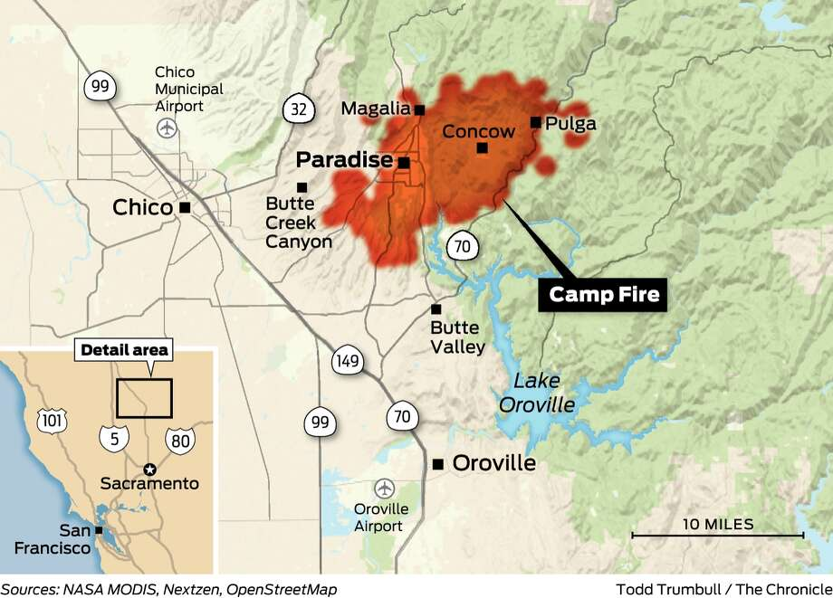 Camp Fire devastates Paradise near Chico — businesses, church