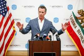 Gov.-elect Gavin Newsom speaks at a press conference at St Anthony's before helping to serve lunch to the homeless and needy at St. Anthony's Dining Room on Thursday, November 8, 2018 in San Francisco, Calif.
