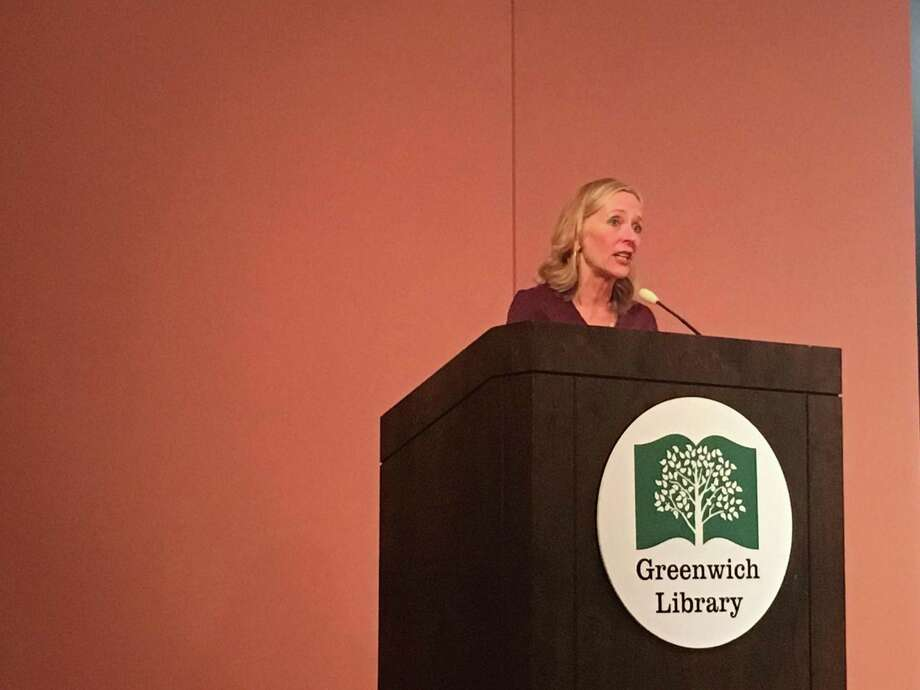 'Code Girls' author Liza Mundy speaks Wednesday night at the Cole Auditorium as part of the Greenwich Reads Together event. Photo: Jo Kroeker Hearst Media Connecticut