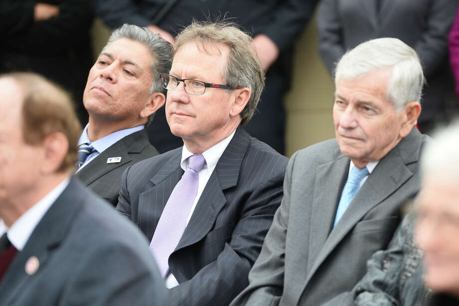 From left, Midland mayor Jerry Morales, Brent Hilliard, chairman of the Midland Development Corporation, and State Representative Tom Craddick, look on during the grand opening celebration of the Texas Tech Physicians Psychiatric Clinic, a mental health facility funded by the Midland Development Corporation and the Scharbauer Foundation, Nov. 8, 2018. James Durbin/Reporter-Telegram Photo: James Durbin / ? 2018 Midland Reporter-Telegram. All Rights Reserved.