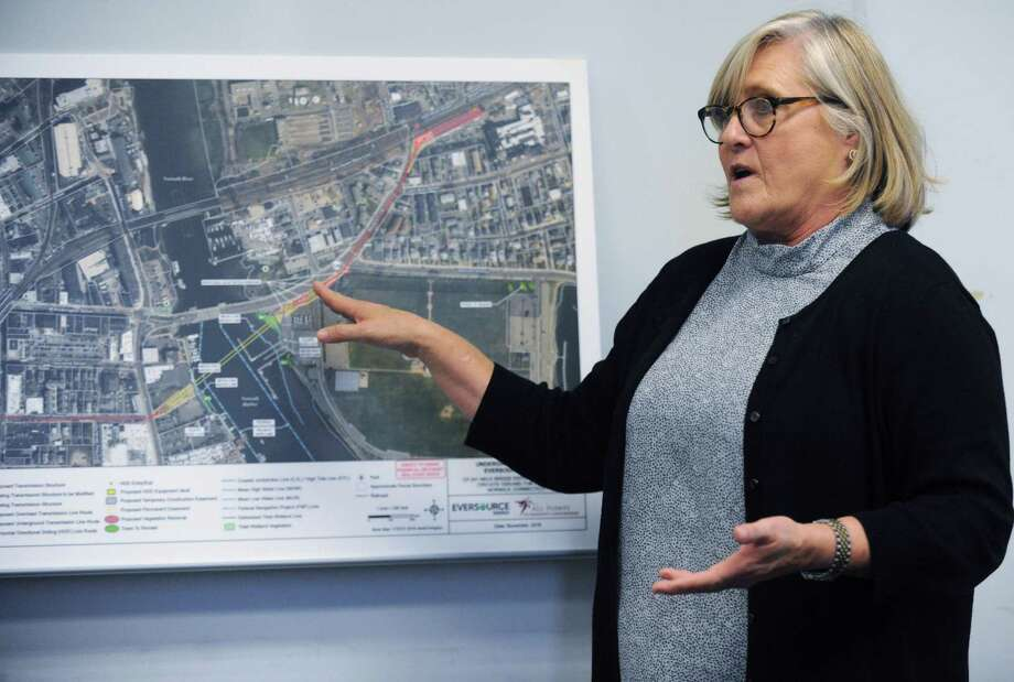 Eversource Senior Project Manager Marcia Wellman makes a presentation as Eversource Energy holds press briefing Thursday, November 8, 2018, at Eversource work center at 9 Tindall Ave. to give an update on the proposal for relocating electric lines from the Walk Bridge underground across Norwalk Harbor in South Norwalk, Conn. The briefing comes in advance of Eversource open house Nov. 13 at Norwalk City Hall. Photo: Erik Trautmann / Hearst Connecticut Media / Norwalk Hour