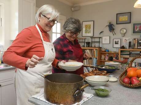 Sue Conley and co-founder Peggy Smith show how to make turkey soup after the Thanksgiving day left overs seen on Thursday, Oct. 11, 2018, in Petaluma, Calif.