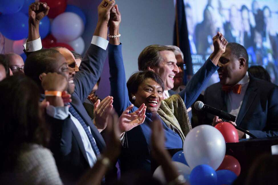 New York State Sen. Andrea Stewart-Cousins celebrates her re-election with other New York State Senate victors during the Nassau County Democratic Committee election night event Wednesday, Nov. 6, 2018, in Garden City, NY. Democrats retook both the U.S. House of Representatives and the New York State Senate in the midterm election.