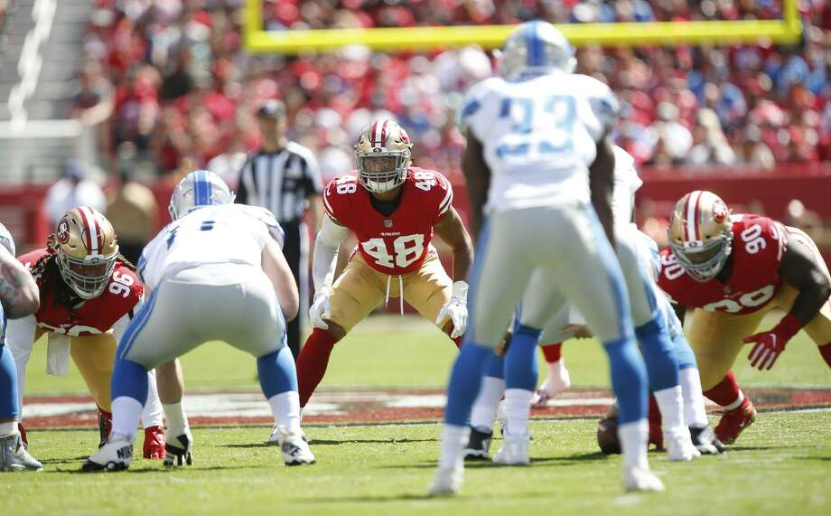 Fred Warner #48 of the San Francisco 49ers eyes the quarterback during the game against the Detroit Lions at Levi Stadium on September 16, 2018 in Santa Clara, California. The 49ers defeated the Lions 30-27. Photo: Michael Zagaris / Getty Images / 2018 Michael Zagaris