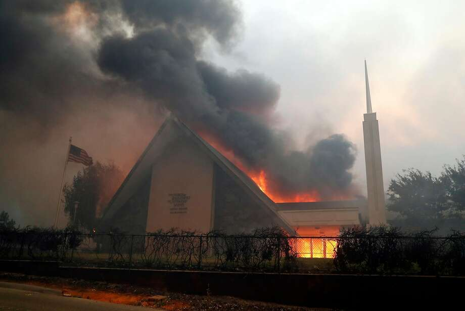 The Church of Jesus Christ of Latter Day Saints burns during Camp Fire in Paradise, Calif.. on Thursday, November 8, 2018. Photo: Scott Strazzante / The Chronicle
