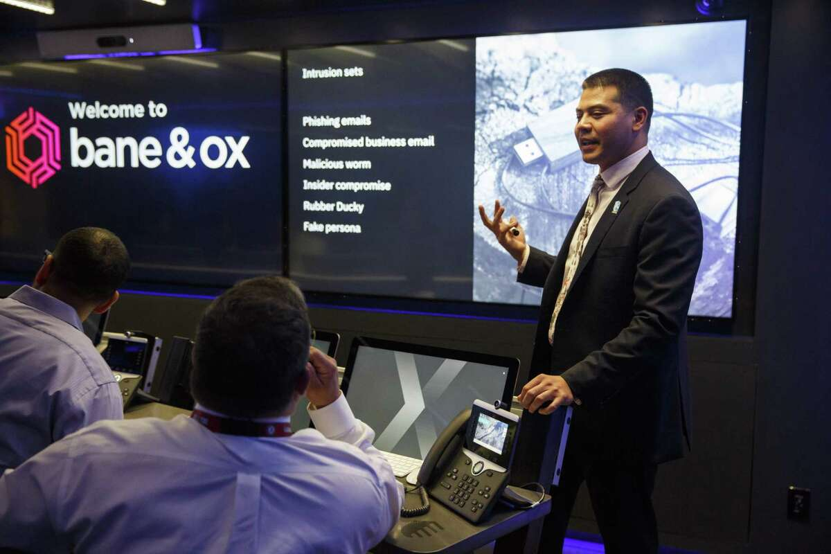 Ben Poernomo, the CTOC Director of Operations with IBM Security, speaking with trainees during a simulated cyber attack on a fictional organization inside the IBM Security X-Force Command training truck in Austin, Tx. on October 23, 2018.