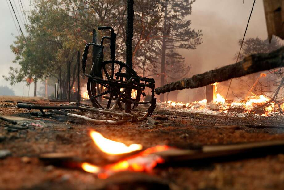 A charred wheelchair in Paradise Gardens senior community during Camp Fire in Paradise, Calif.. on Thursday, November 8, 2018. Photo: Scott Strazzante / The Chronicle
