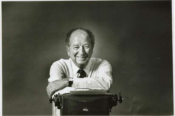 Herb Caen and his Royal typewriter.  1989.Herb Caen and his Royal typewriter.  1989.