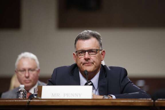FILE -- Steve Penny, the former president of USA Gymnastics, testifies during a Senate hearing on Capitol Hill in Washington, June 5, 2018. Penny has pleaded not guilty to charges of evidence tampering. (Tom Brenner/The New York Times)
