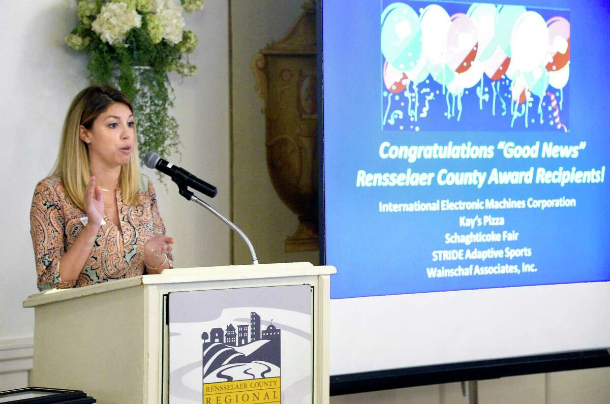Rensselaer County Chamber Kate Manley speaks during the