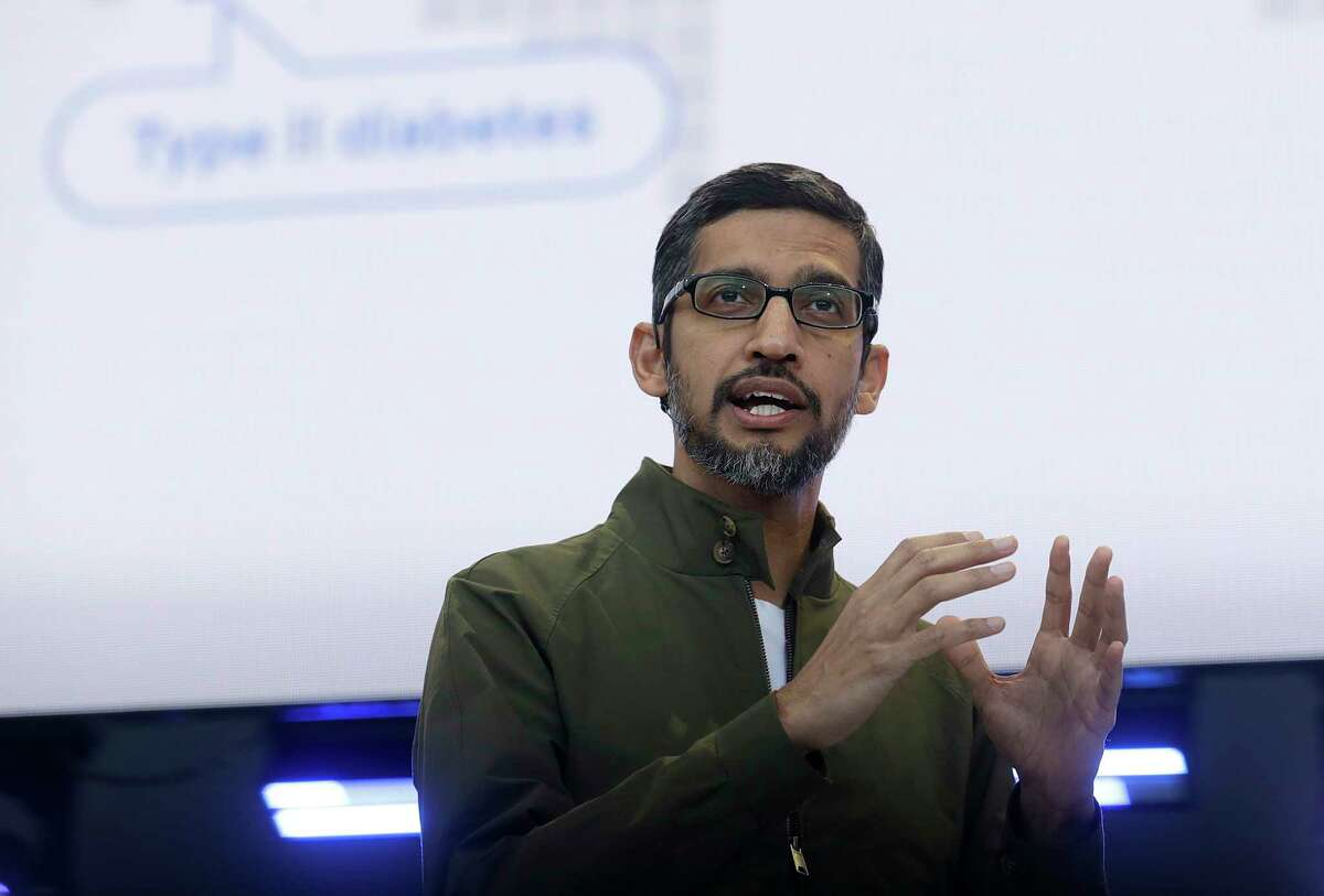 FILE- In this May 8, 2018, file photo, Google CEO Sundar Pichai speaks at the Google I/O conference in Mountain View, Calif. Google is promising to be more forceful and open about its handling of sexual misconduct cases, a week after high-paid engineers and others walked out in protest over its male-dominated culture. Pichai spelled out the concessions in an email sent Thursday, Nov. 8, to Google employees. (AP Photo/Jeff Chiu, File)
