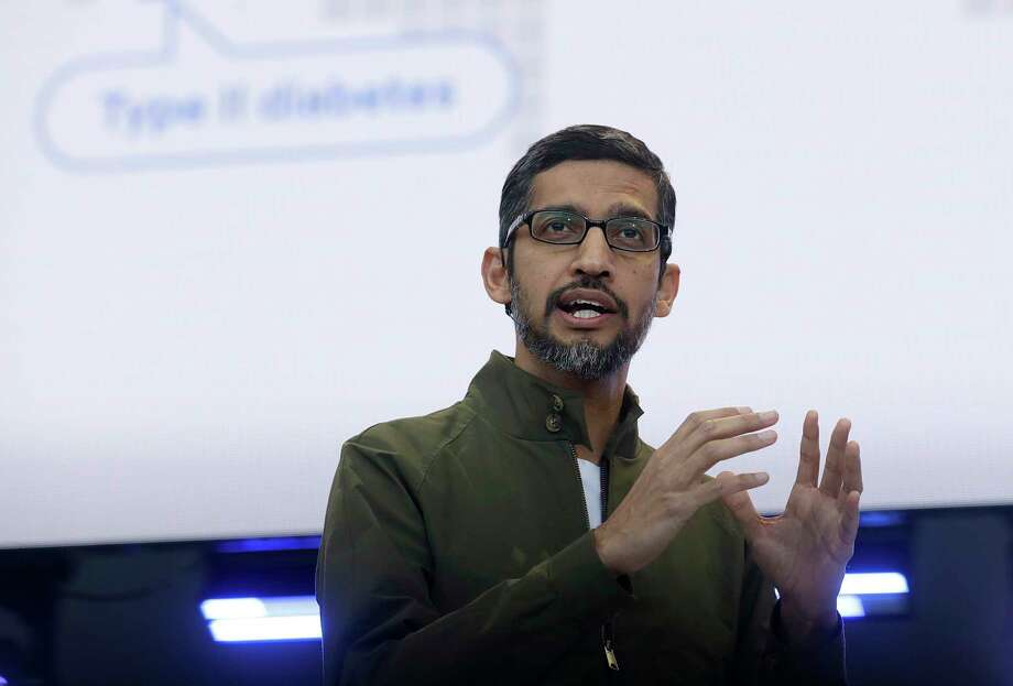 FILE- In this May 8, 2018, file photo, Google CEO Sundar Pichai speaks at the Google I/O conference in Mountain View, Calif. Google is promising to be more forceful and open about its handling of sexual misconduct cases, a week after high-paid engineers and others walked out in protest over its male-dominated culture. Pichai spelled out the concessions in an email sent Thursday, Nov. 8, to Google employees. (AP Photo/Jeff Chiu, File) Photo: Jeff Chiu / Copyright 2018 The Associated Press. All rights reserved.