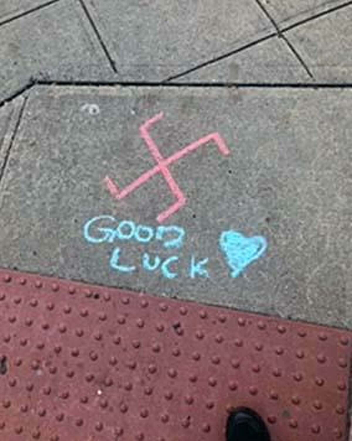 Stamford, Conn., police said swastikas were found on sidewalks in downtown on Nov. 8, 2018.