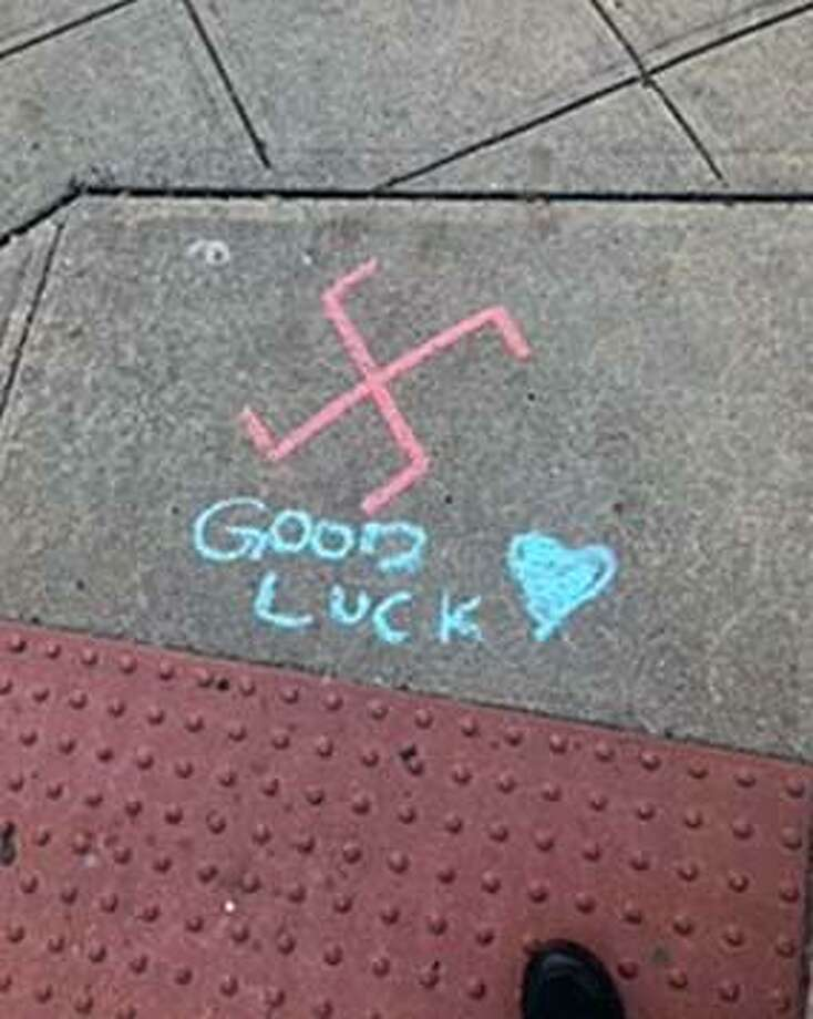Stamford, Conn., police said swastikas were found on sidewalks in downtown on Nov. 8, 2018. Photo: Contributed Photo / Stamford Police Department / Contributed Photo / Connecticut Post Contributed