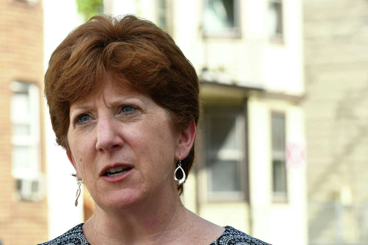 Mayor Kathy Sheehan speaks to reporters following a press conference outside the 16 Judson Street on Tuesday, Sept. 4 2018, in Albany, N.Y. On Tuesday, Sheehan and her counterparts in Plattsburgh, Troy, and Schenectady announced they were suing the manufacturers and distributors of opioid painkillers.(Will Waldron/Times Union)
