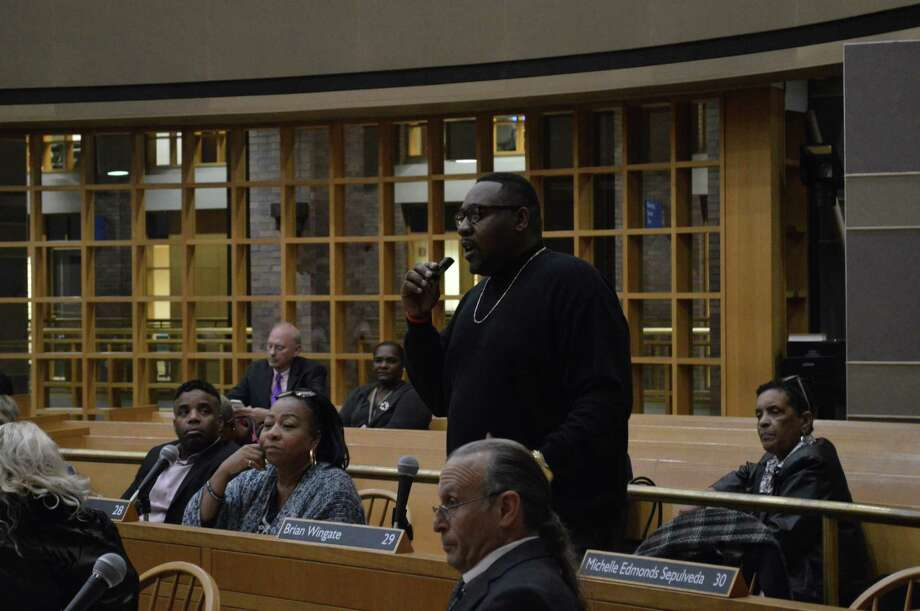 Alder Brian Wingate, D-29, standing during a Board of Alders meeting Thursday in favor of an amendment to address how the city handles violent dogs. Photo: Clare Dignan / Hearst Connecticut Media