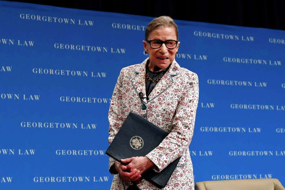 FILE - In this Sept. 26, 2018, file photo, Supreme Court Justice Ruth Bader Ginsburg leaves the stage after speaking to first-year students at Georgetown Law in Washington. Ginsburg has been hospitalized after fracturing three ribs in fall at court (AP Photo/Jacquelyn Martin, File) Photo: Jacquelyn Martin / Copyright 2018 The Associated Press. All rights reserved.