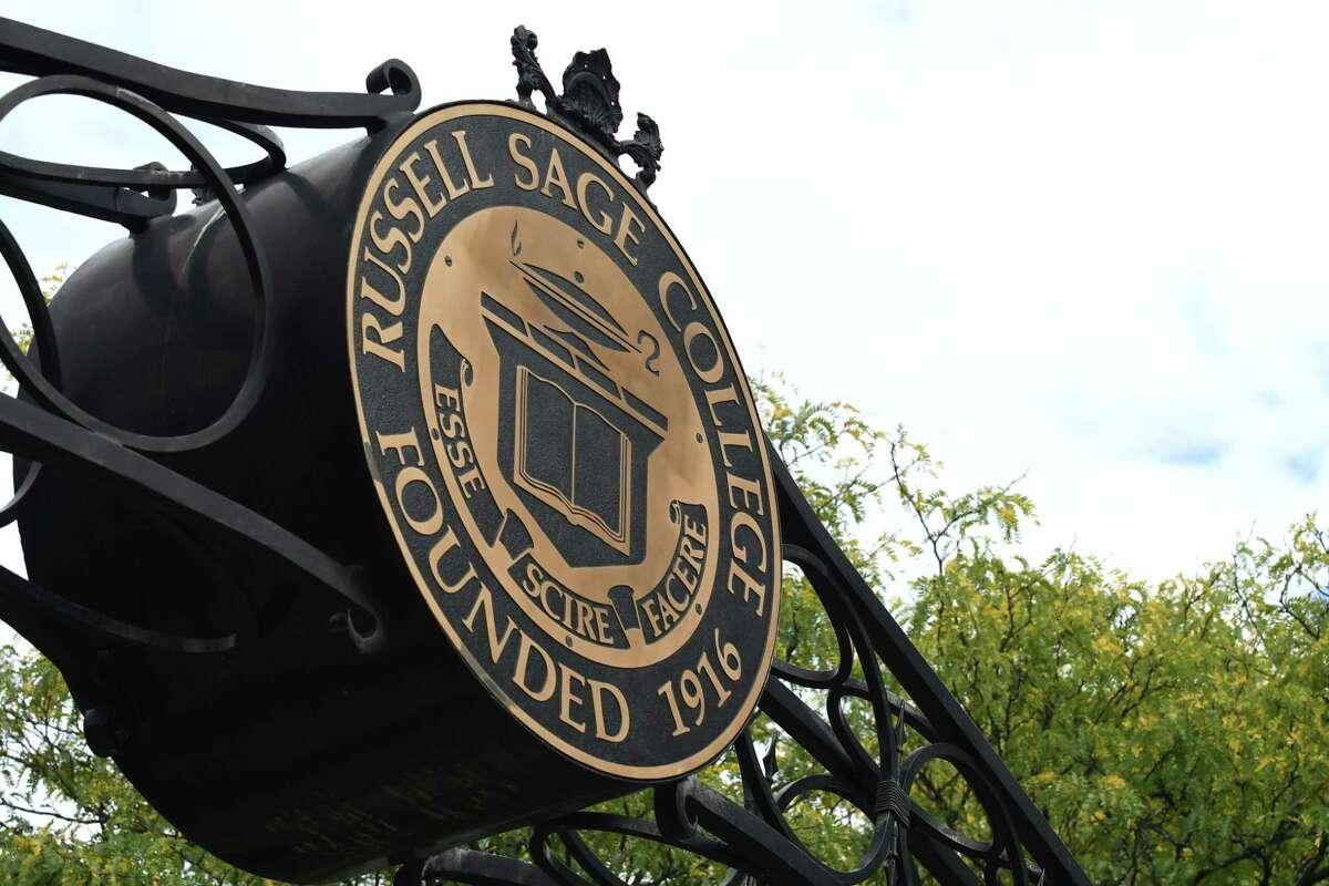 Sign at the entrance to Russell Sage College at First Street on Friday, Oct. 13, 2017, in Troy, N.Y. (Will Waldron/Times Union)