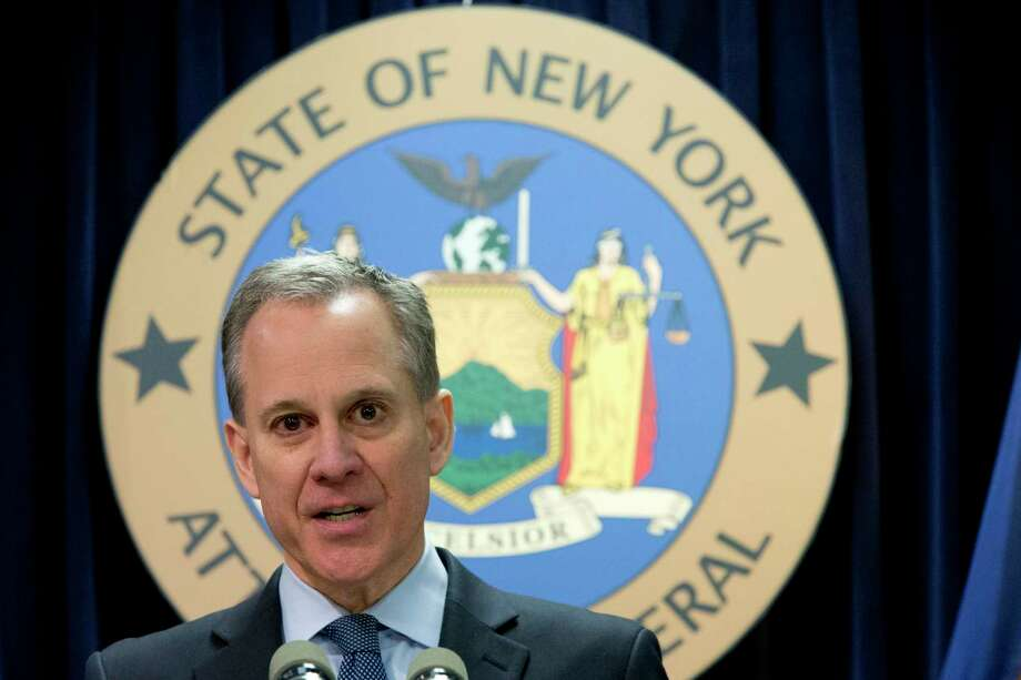 "FILE - In this Feb. 11, 2016, file photo, New York Attorney General Eric T. Schneiderman speaks during a news conference in New York. The prosecutor appointed to investigate allegations that former New York Attorney General Schneiderman physically abused women says she has closed the case without bringing criminal charges, Thursday, Nov. 8, 2018. Schneiderman said in a statement he didn't consider the decision an exoneration. He also apologized ""for any and all pain that I have caused."" (AP Photo/Mary Altaffer, File) Photo: Mary Altaffer / Copyright 2018 The Associated Press. All rights reserved."