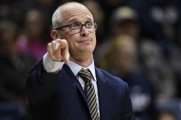 UConn coach Dan Hurley gestures to his team during the first half of a season-opening win over Morehead State Thursday. (AP Photo/Jessica Hill)