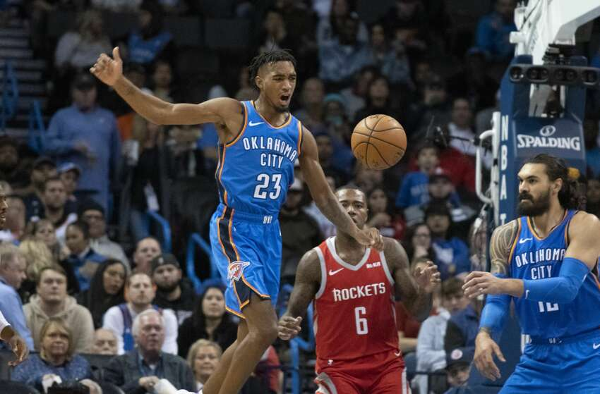 OKLAHOMA CITY, OK - NOVEMBER 8: Terrance Ferguson #23 of the Oklahoma City Thunder reacts after he lost control of the ball during the second half of a NBA game against the Houston Rockets at the Chesapeake Energy Arena on November 8, 2018 in Oklahoma City, Oklahoma. NOTE TO USER: User expressly acknowledges and agrees that, by downloading and or using this photograph, User is consenting to the terms and conditions of the Getty Images License Agreement. (Photo by J Pat Carter/Getty Images)
