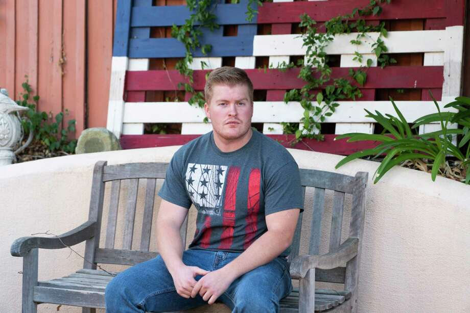 David Anderson, 23, a survivor of the mass shooting at Borderline Bar & Grill and the 2017 Las Vegas shooting at the Route 91 Harvest music festival, sits outside of his home. Photo: Photo By Philip Cheung For The Washington Post / For The Washington Post