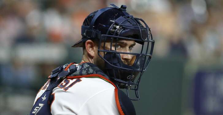 Houston Astros catcher Max Stassi (12) during the first inning of an MLB baseball game at Minute Maid Park, Wednesday, August 29, 2018, in Houston.