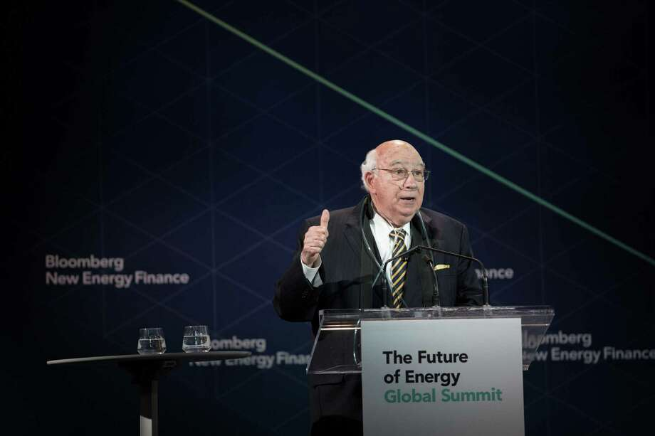 Robert Murray, founder and chairman of Murray Energy Corp., speaks during the BNEF Future of Energy Global Summit in New York on April 10, 2018. Murray has aggressively pushed Trump administration officials to support coal power plants operated by one of his biggest customers, FirstEnergy Solutions.MUST CREDITr: Alex Flynn/Bloomberg Photo: Alex FLynn, Bloomberg / Bloomberg