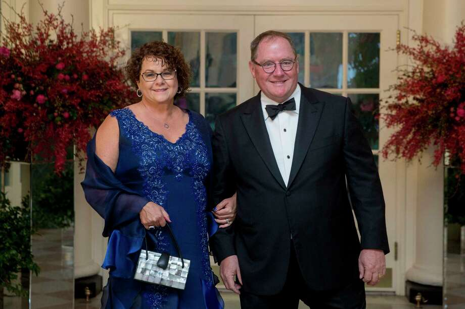 John Lasseter, then chief creative officer of Walt Disney Studios, and Nancy Lasseter arrive at a state dinner in honor of Chinese President Xi Jinping at the White House in September 2015. Photo: Andrew Harrer, Bloomberg / © 2015 Bloomberg Finance LP