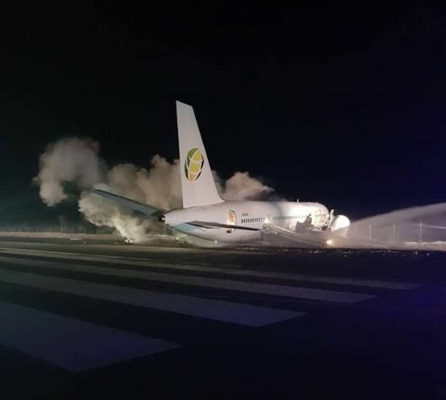 Six people were injured after a Fly Jamaica plane crash landed in Guyana. Photo: Facebook / Cheddi Jagan International Airport