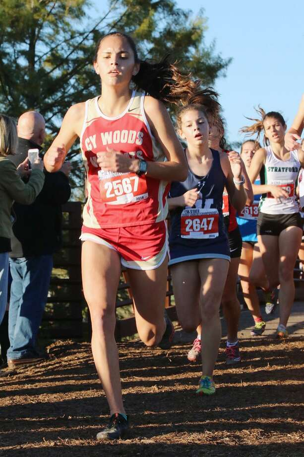 Cy Woods senior Mary Rodriguez races in the UIL Class 6A Cross Country State Championships on Nov. 3 at Old Settlers Park in Round Rock. Rodriguez made her second appearance at state, finishing 71st overall in the girls division. Photo: CFISD
